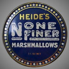 Vintage Heide's None Finer Marshmallow Tin 3 ½ Oz  – Very Nice Condition