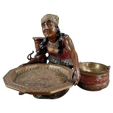 Vintage Peasant Woman Card Receiver and Ashtray - Beautiful Desk or Decorating Item