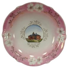 Vintage Souvenir Bowl Plate of Historic Sprague, Washington High School Building