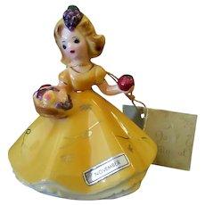 Vintage Josef Original Japan Figurine - November with Harvest Basket