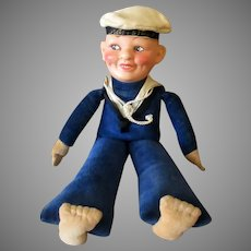 Vintage Sailor Doll with Composition Head and Velveteen Body