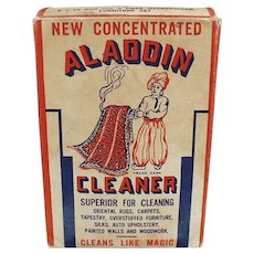 Vintage 1944 Aladdin Cleaner Soap Box with Nice Graphics of Aladdin & Oriental Carpet