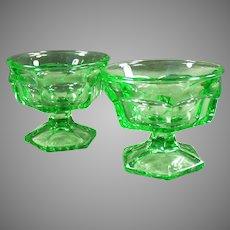 Vintage Sherbet Dishes - Heavy Green Glass Ice Cream Sundae - Pair