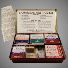 Vintage Samaritan First Aid Kit Tin Bauer & Black Curity Medical Products