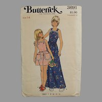Old Butterick Pattern #3691 - Little Girls Pinafore Style Dress - Vintage Size 14
