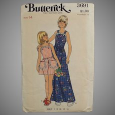Old Butterick Pattern #3691 - Little Girls Pinafore Style Dress - Vintage Size 14