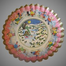 Vintage Paper Christmas Bowl with Fluted Edge – 1930's German - Very Cute Graphics
