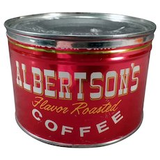 Vintage 1# Albertson's Key Wind Coffee Tin - Very Nice Advertising
