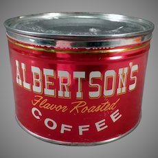 Vintage 1# Albertson's Key Wind Coffee Tin - Very Nice Advertising