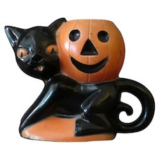 Vintage Rosbro Plastic Halloween Novelty with a Black Cat & J-O-L Pumpkin