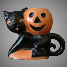 Vintage Rosbro Plastic Halloween Novelty with a Black Cat & J-O-L Pumpkin