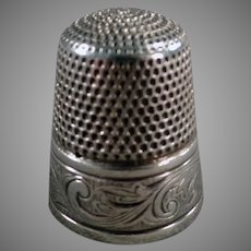 Vintage Sterling Silver Simons Brothers Sewing Thimble with Nice Art Nouveau Design