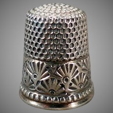 Vintage Sterling Silver Ketcham and McDougall Sewing Thimble – Deco Fan Design