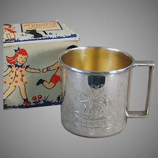 """Vintage Child's 1881 Rogers Silver Plate Cup Engraved """"Douglas"""" with Original Gift Box"""