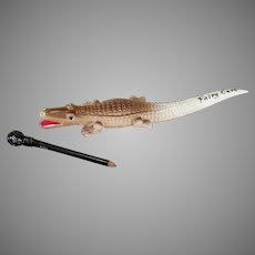 Vintage Souvenir Celluloid Alligator Letteropener with Black Boy Pencil
