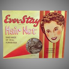 Vintage Ever-Stay Hair Net Package with Nice Graphics - Unopened