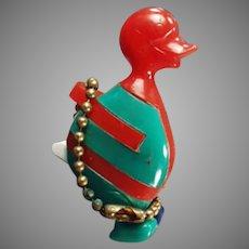Colorful Vintage Dexterity Puzzle Key Chain - Comical Duck