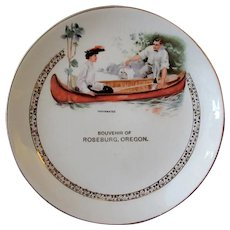Vintage Souvenir Plate – Roseburg, Oregon with Canoe Scene,  Early 1900's, Dresden China