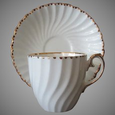 Vintage Gladstone Old Grecian Flute Pattern Bone China Cup & Saucer, Gold Trim