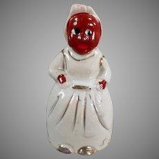 Vintage Black Memorabilia - Little Porcelain Mammy Bell with Gold Trim