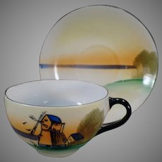 Vintage Porcelain Teacup and Saucer with Windmill Scene - Made in Japan