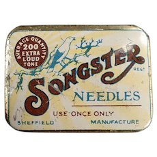 Vintage Songster Phonograph Needle Tin - Songster with Nice Bird Graphics