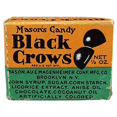 Vintage Black Crow Licorice Candy Drops Sample Box
