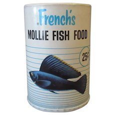 Vintage French's Fish Food Box with Blue Mollie Graphics