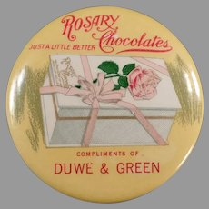 Vintage Celluloid Pocket Mirror with Rosary Chocolate Candies Advertising