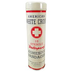 Vintage American White Cross Adhesive Bandage Tin - Medical Advertising