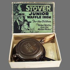 Child's Vintage Cast Iron Waffle Iron - Stover Junior with Original Box
