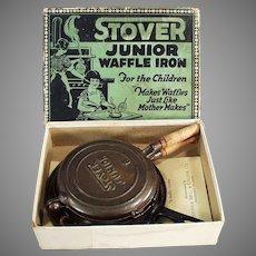 Child's Vintage Cast Iron Waffle Iron - Stover Junior with Original Box