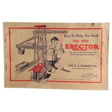 Vintage 1934  A.C. Gilbert Erector Set Manual with How to Make 'Em Diagrams