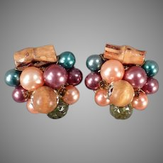Vintage Costume Jewelry Clip On Earrings with Autumn Colored Beads and Bamboo