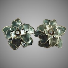 Funky Vintage Costume Jewelry Clip Earrings - Large Gray Flowers with Rhinestones