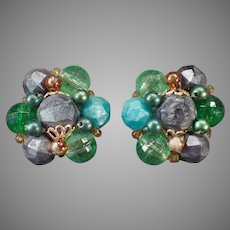 Vintage German Costume Jewelry Clip-on Earrings with Green and Gray Beads