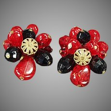Vintage Costume Jewelry Clip Earrings with Red and Black Glass Beads - West Germany