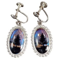 Vintage Dangle Earrings with Butterfly Wing Pine Trees - Screw Back