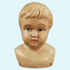 """Vintage 4 """" Celluloid Shoulder Head Doll - Marked American with Indian Logo"""