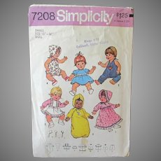 "Vintage Simplicity #7208 Baby Doll Clothes Pattern – 13"" -14"" Dolls"