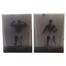 Two Vintage Glass Plate Negatives with Boise Wrestler Tony Catalano plus Newspaper Clipping