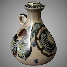 Vintage Tonal Mexican Pottery Handled Decanter Jug with Nice Subdued Colors