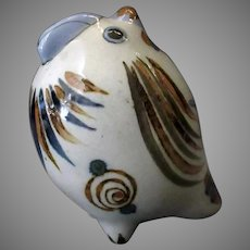 Mexican Pottery – Fat Chicken with Blue Bird and Snail Design and Insect Signature
