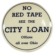 Vintage Celluloid Advertising Tape Measure - City Loan of Ohio & No Red Tape