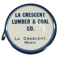 Vintage Celluloid Advertising Tape Measure - La Crescent Lumber and Coal  of Minnesota