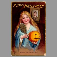 Vintage Halloween Postcard with Woman and Jack-O-Lantern Pumpkin