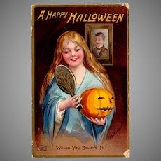 Vintage Halloween Postcard with Woman and Jack-O-Lantern Pumpkin