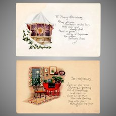 Vintage Christmas Postcards – Two, Simple Cards with Quaint Scenes