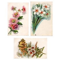Vintage Floral Postcards - Three Pretty, Generic Cars with Sprays of Flowers
