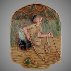 Vintage Chalk Wall Hanging with Humourous Fly-Fishing Fisherman - Nice Gift for Dad